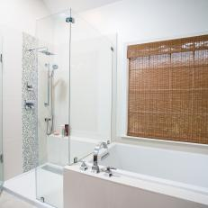 White Contemporary Bathroom With Glass Shower
