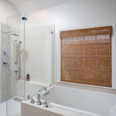 Contemporary White Bathroom With Glass-Enclosed Shower