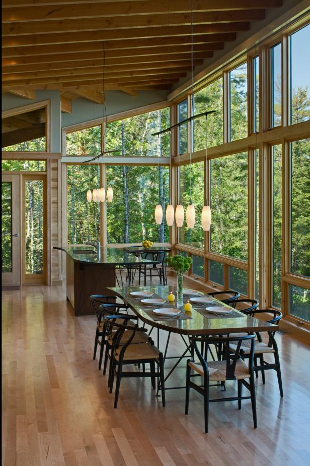 Rustic Open Plan Dining Room With Wooded Views