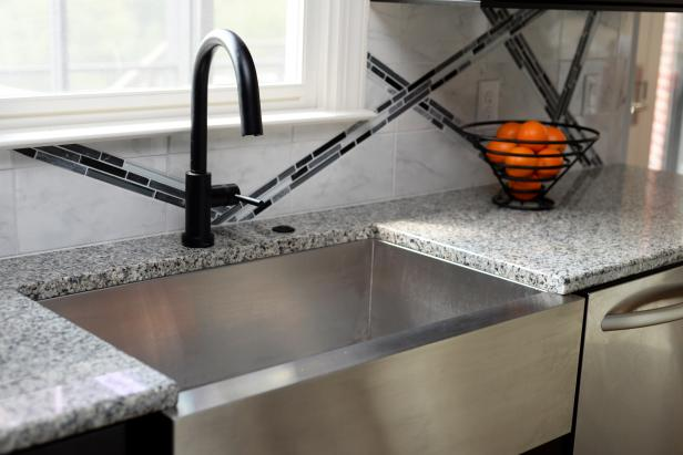 Stainless Steel Farmhouse Sink With Black Faucet Hgtv