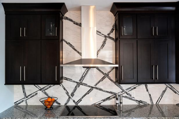 Custom Black & White Kitchen Backsplash