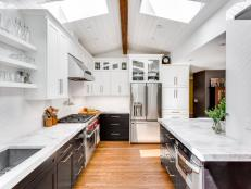 White Contemporary Kitchen With Skylights and Paneled Ceiling