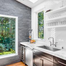Contemporary Kitchen With White Tile Herringbone Patterned Backsplash