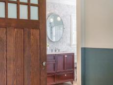 Sliding Barn Door Entrance to Serene Master Bathroom