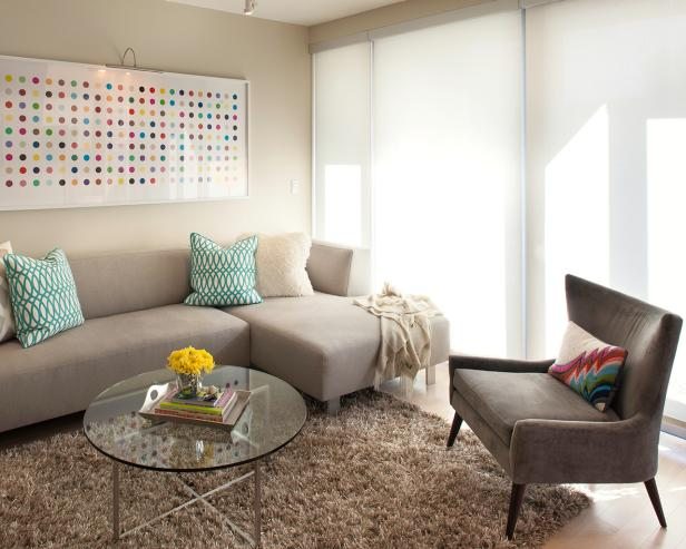 Neutral, Contemporary Living Room With Colorful Art