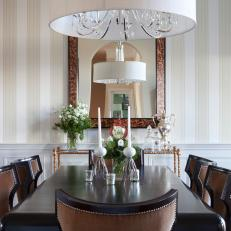Striped Wallpaper in Traditional Dining Room