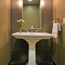 Brown Transitional Powder Room With Pedestal Sink
