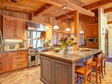 Captivating Cedar Kitchen Features Eat-In Island