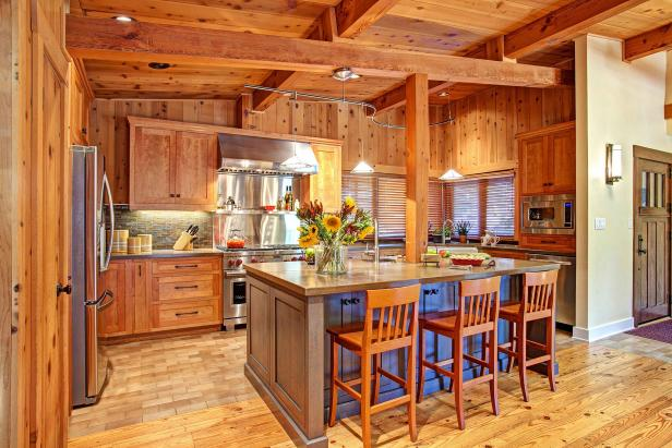 Rustic Wood Kitchen With Wood Cabinets & Island