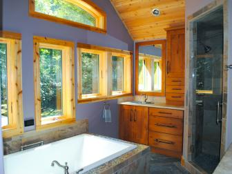 Rustic Master Bathroom Is Customized for Two