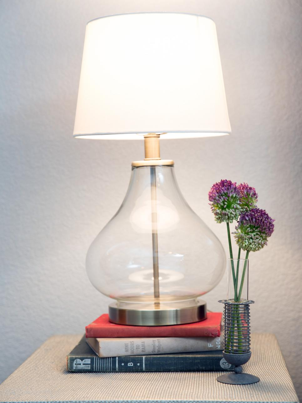 Glass Lamp On Antique Books