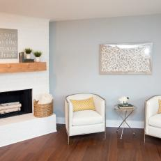 Living Room With Painted Fireplace