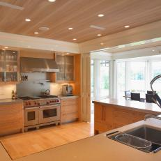 Neutral Contemporary Kitchen With Wood Ceiling