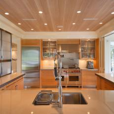 Neutral Contemporary Kitchen With Appliance Wall