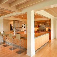 Neutral Contemporary Kitchen With Exposed Ceiling Beams