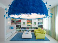 Bright Blue Feathered Pendant Light in Contemporary Study
