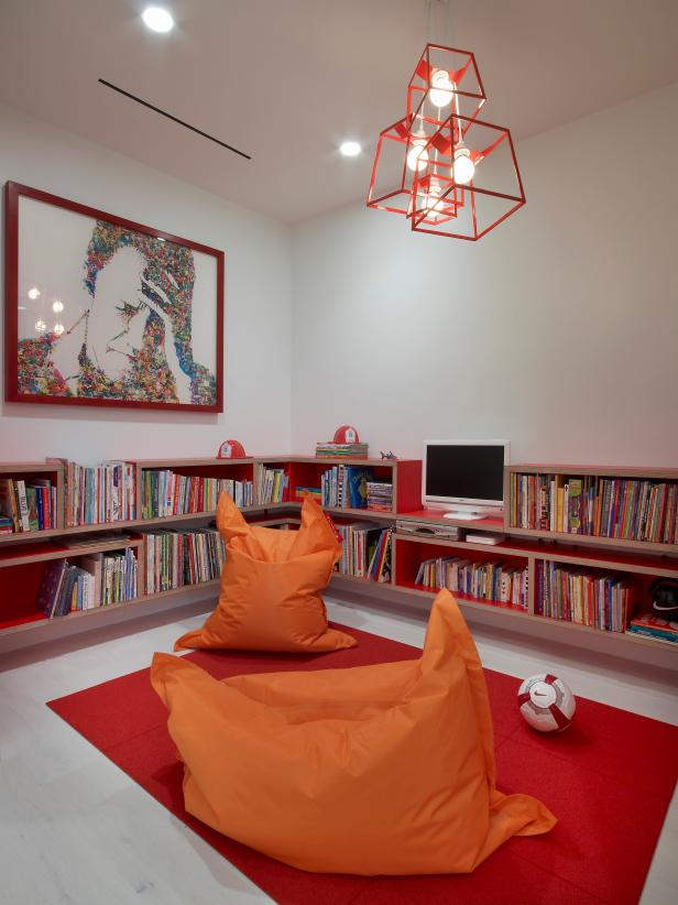 White Modern Library With Orange & Red Accents
