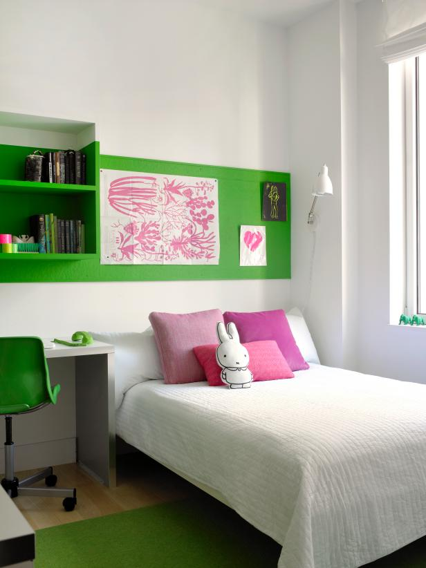 White Bedroom With Green Stripe of Paint, Pink Pillows & Art