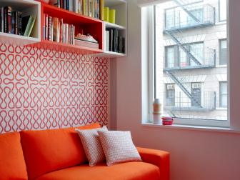 Sofa & Graphic Wallpaper Add Punch of Color