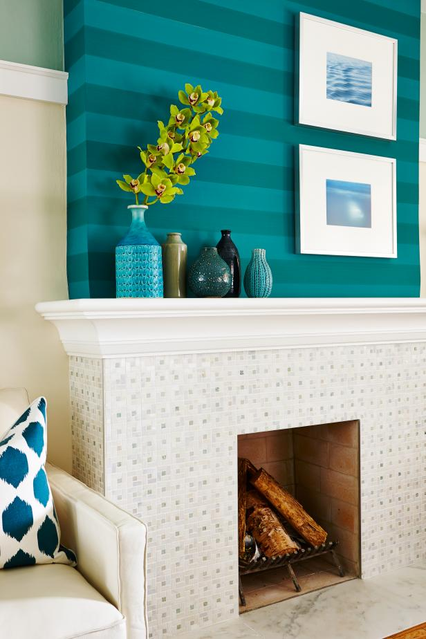 White And Turquoise Fireplace From Sarah Sees Potential