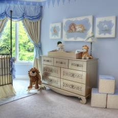 Baby Blue Nursery Boasts Antique Silver Changing Table