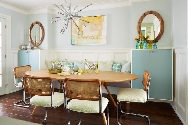 10 chandeliers that are dining room statement makers hgtvs mid century modern dining room from sarah sees potential aloadofball Choice Image