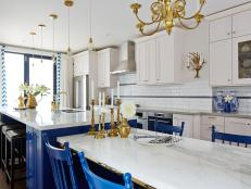 Traditional White and Blue Chef's Kitchen From Sarah Sees Potential