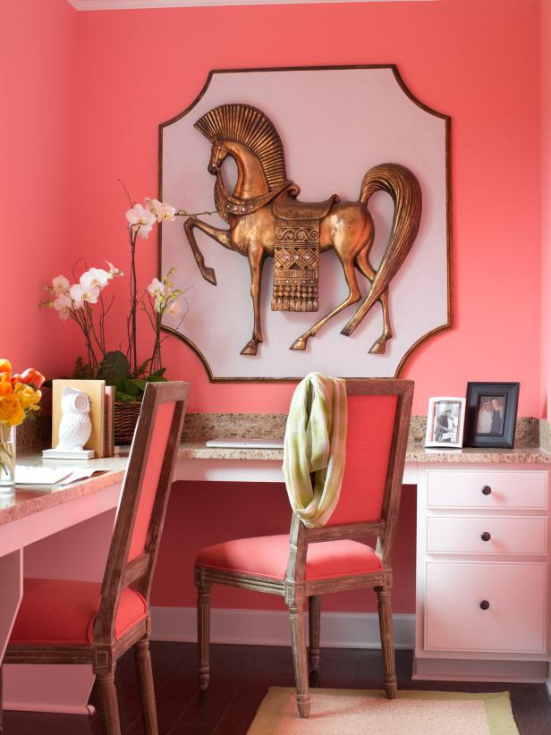 Trojan Horse Art in Coral Home Office