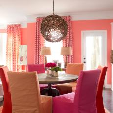 Breakfast Nook With Coral, Orange U0026 Pink Color Palette