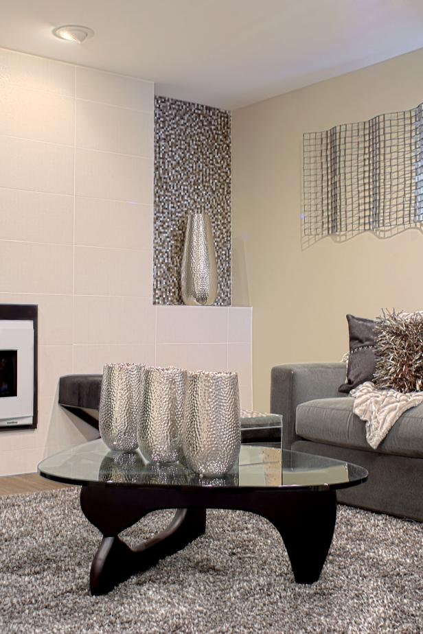Silver Vases on Coffee Table in Contemporary Living Room