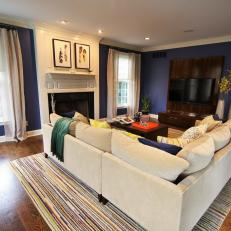 Blue and White Transitional Living Room With Striped Rug