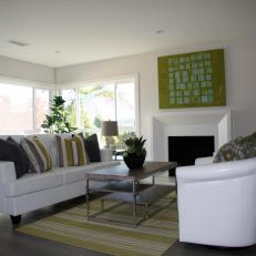 Flip or Flop: Modern White Living Room with Bold Accents