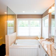 Neutral Master Bathroom is Traditional, Relaxing