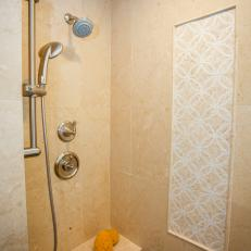 Traditional Walk-In Shower With Accent Tiles
