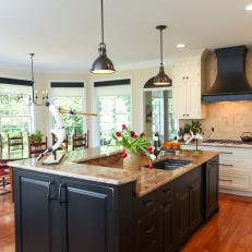 Stylish Black Island in Traditional Kitchen