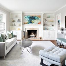 Bright & Airy Transitional Living Room With Built-Ins