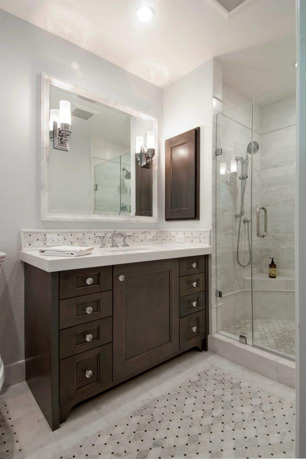 Single-Vanity Contemporary Bathroom With Tile Shower