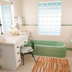 White Midcentury Modern Bathroom With Green Tub