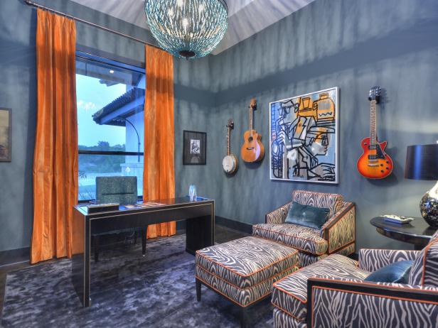 Blue Home Office With Orange Curtains, Zebra Print Chairs & Ottoman