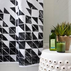 Black White Geometric Shower Curtain