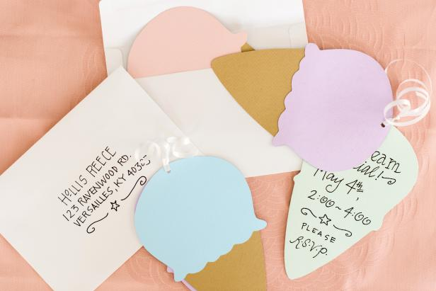 DIY Ice Cream Cone Invitations