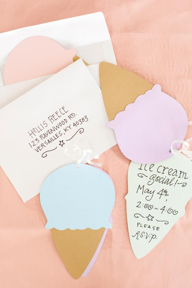 Add a fun, handmade twist to ordinary party invitations with a cute and clever ice cream shape. You'll need the following materials for this nifty project: several sheets of card stock in pastel colors, brown or tan textured card stock, scissors, felt-tip pen, pencil, glue stick, invitation envelopes, hole punch, ribbon and a downloadable ice cream cone template.
