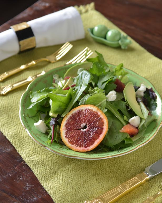 Fresh greens, herbed goat cheese and citrus notes are featured in this flavorful springtime salad.