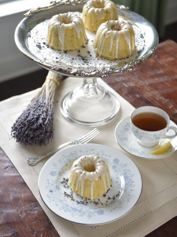 Serve up the perfect dessert with tiny cakes drizzled in lemon and lavender.