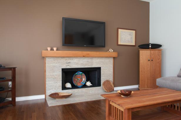 Contemporary Travertine Fireplace Surround
