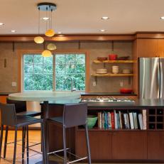 Neutral Open Plan Kitchen With Wood Cabinets