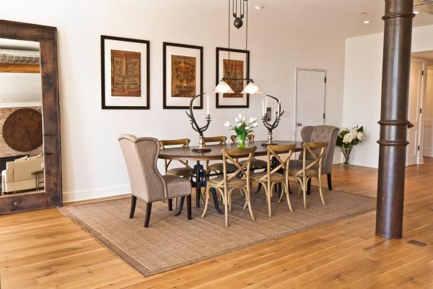 White Dining Room With Oak Floor, Neutral Furniture & Iron Columns