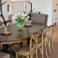Transitional Dining Room With Antler Candelabras