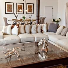 Cream Sectional & Antique Coffee Table