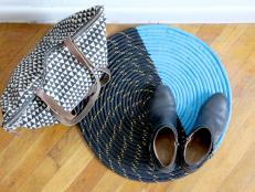 Use thick rope and silicone paint to create a chic doormat that will add a splash of color to any entryway. The polyester rope and smooth paint are durable enough for snow-covered boots or wet spring shoes.
